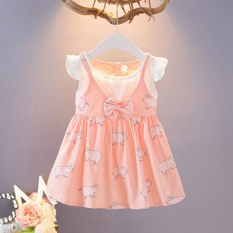 Baby Girl Dress Summer Cute Cartoon Pig Print Sleeveless Princess Dress Cotton Infant Baby Dress Baby Girl Clothes New