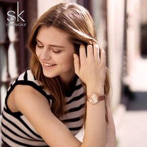 Image 5 - Shengkeใหม่ผู้หญิงนาฬิกาCreativeใบDialหนังควอตซ์นาฬิกาแฟชั่นCasulสุภาพสตรีนาฬิกาข้อมือMontre Femme