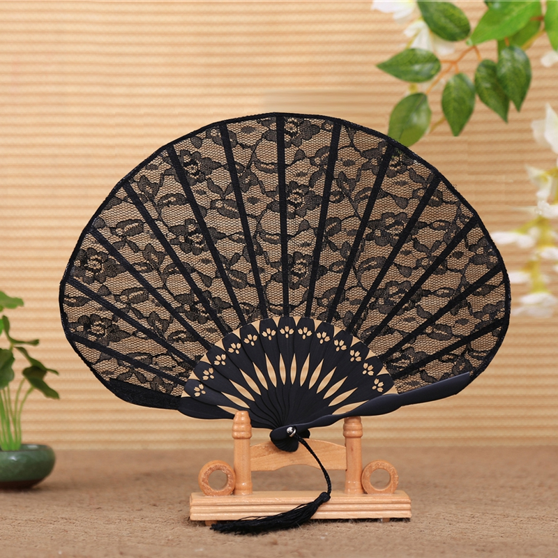 Free Shipping High Quality 1PC with Tassel For Gift Chinese Vintage Style Lace Fabric Black Dancing Party Fan Dancing Props|dance props|party props|fabric fan - title=