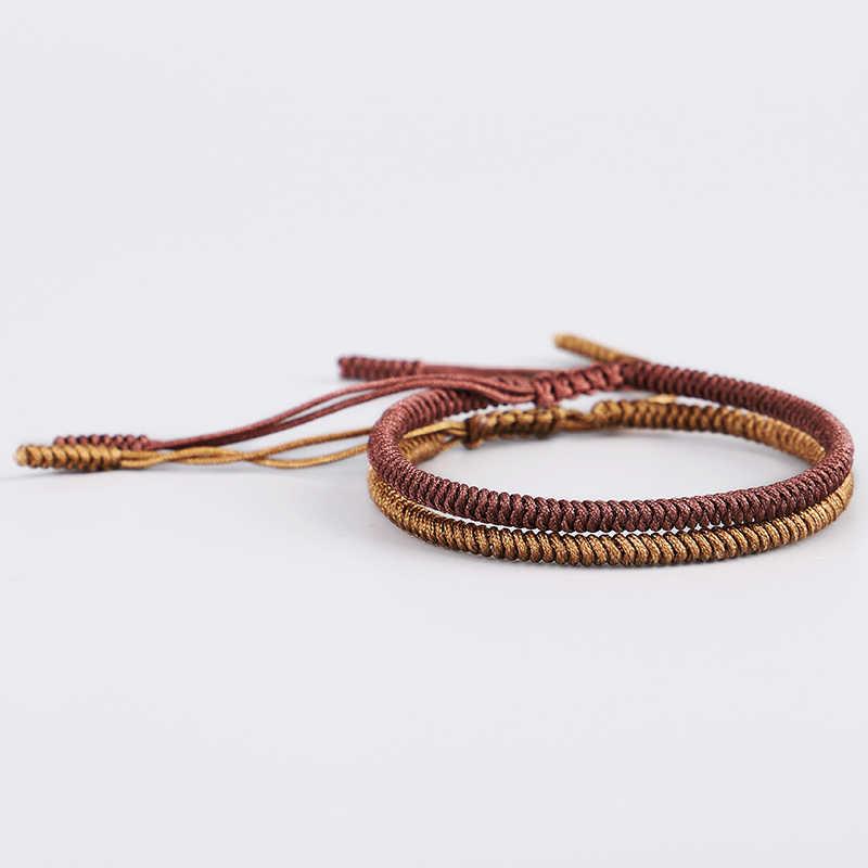 d2eee46d51cb1 2PCS Set Original Handmade Tibetan Buddhist Lucky Knots Rope Bracelets  Handmade Adjustable Buddhism Braided Bangle