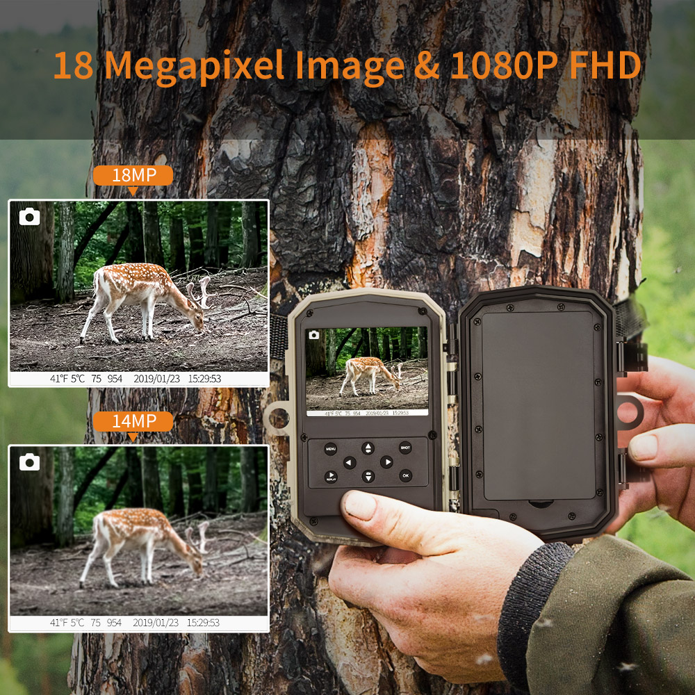 Image 4 - BOBLOV H883 18MP 1080P 120 Degree PIR Lens Hunting Trail Camera 24 Infrared LEDs Scouting Wildlife Night Vision Cameras-in Hunting Cameras from Sports & Entertainment