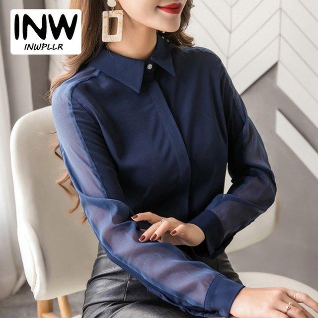 2b368426540bb6 Autumn Work Wear Office Shirts Women 2019 Fashion Patchwork Tops Ladies  Chiffon Blouse Casual Long Sleeve