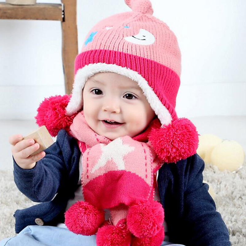 Child Winter Acrylic Hats & Scarf Baby Cartoon Moon And Stars Knitted Cap Keep Warm scarves for Boy Girl 2pcs/set