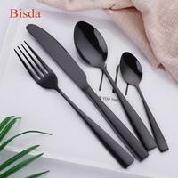 Luxury Black Flatware Set 24Pcs Cutlery Sets Gold Restaurant Flatware Stainless Steel Tableware Square silverware Set