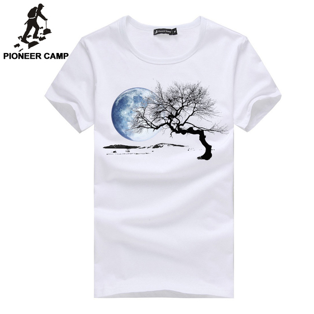 PioneerCamp brand clothing new 2017 men t shirt print pattern Adolescent's personality o-neck Top quality cotton casual men