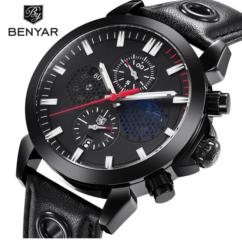 BENYAR Men's Watches Top Luxury Men's Sports Watch Military Waterproof Moon Phase Chronograph Leather Clock Relogio Masculino