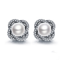 VOROCO 2017 Genuine 925 Sterling Silver Flower Petals Natural Freshwater Pearl Elegant Stud Earrings For Women