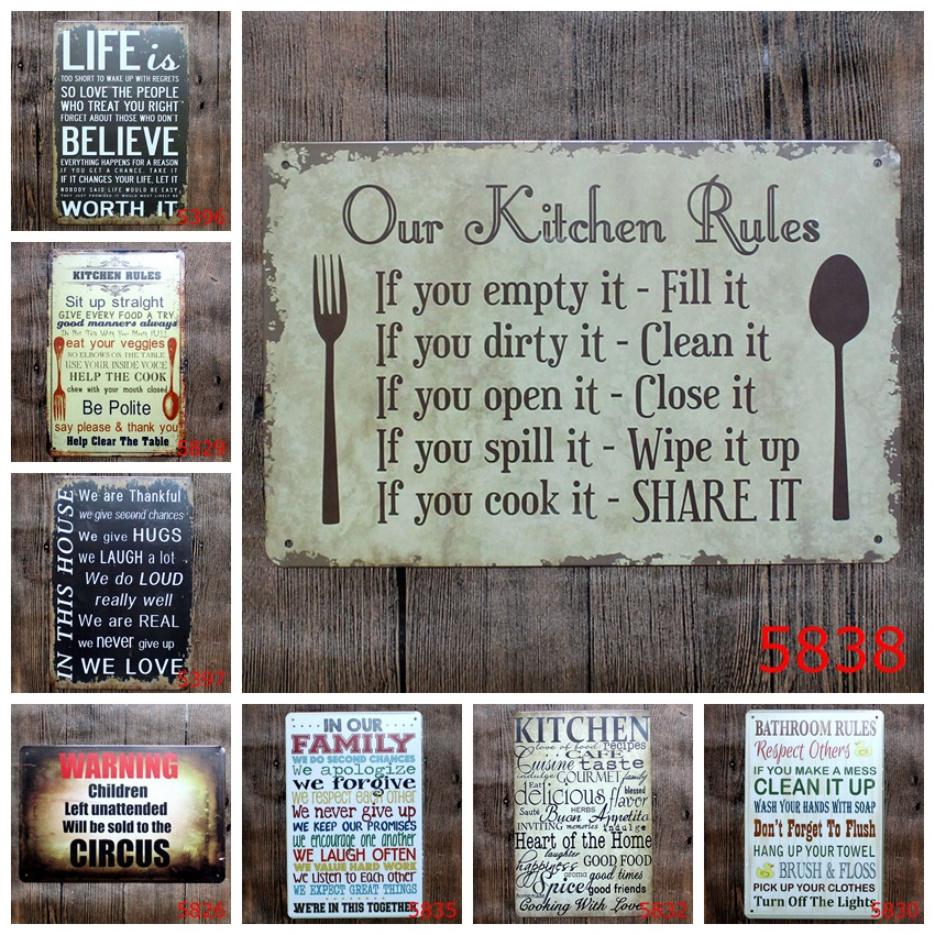 Romantic Poetry Metal Tin Signs Bar Home Cafe School