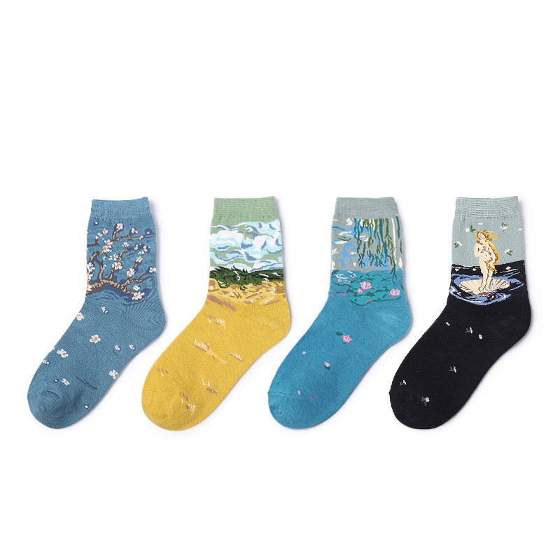 New Women Vintage Oil Painting Short   Socks   Funny Mona Lisa Star Venus Scream Peach Grassland Kiss Colorful Cotton   Socks