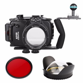 DHL40m 130ft Waterproof Underwater Camera Housing Case Bag for Sony A5100 16-50mm Lens + Diving handle+Fisheye Lens + Red Filter