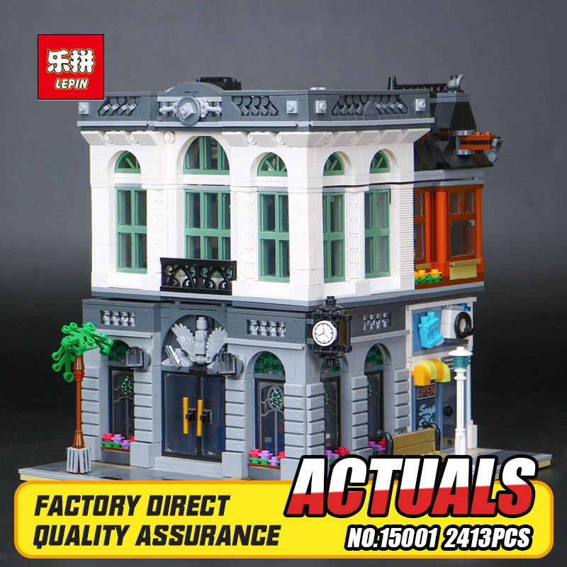 2017 New LEPIN 15001 2413Pcs Brick Bank Model Building Kits Blocks Bricks Toy Compatible With 10251 DIY Funny Educational Gift