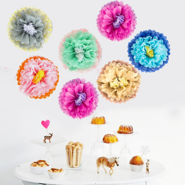 Mexican Decoration Fiesta Party 3pc Set 6colors Summer Hawaiian Pom Flowers Wedding Wall