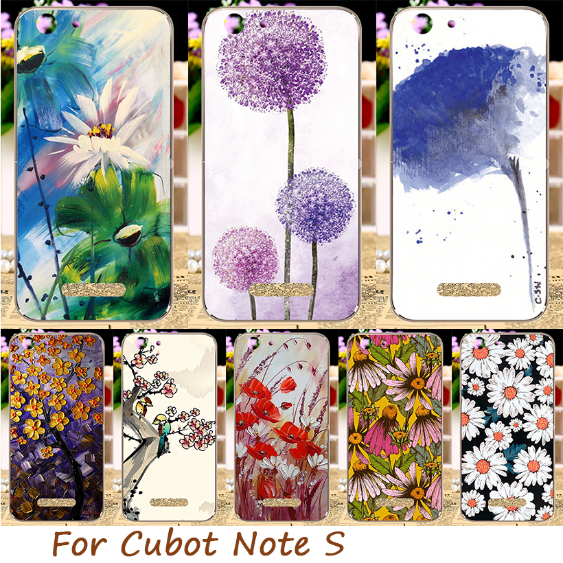 AKABEILA Soft TPU Silicon Phone Case For Cubot Note S 5.5inch Back Cover DIY P Pattern Floral Flowers Paint Hood Dirt-resistant ...