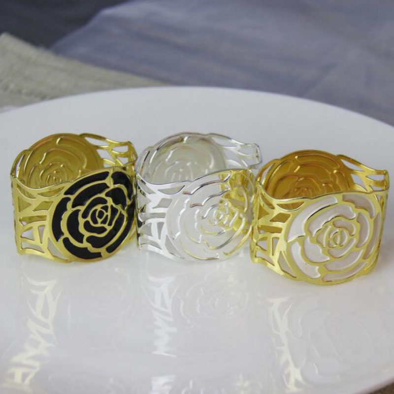 100pcs/lot Golden Silver Rose Napkin Rings Metal Serviette Holder For Hotel Restaurant Wedding Dinner Table Decoration ZA4423