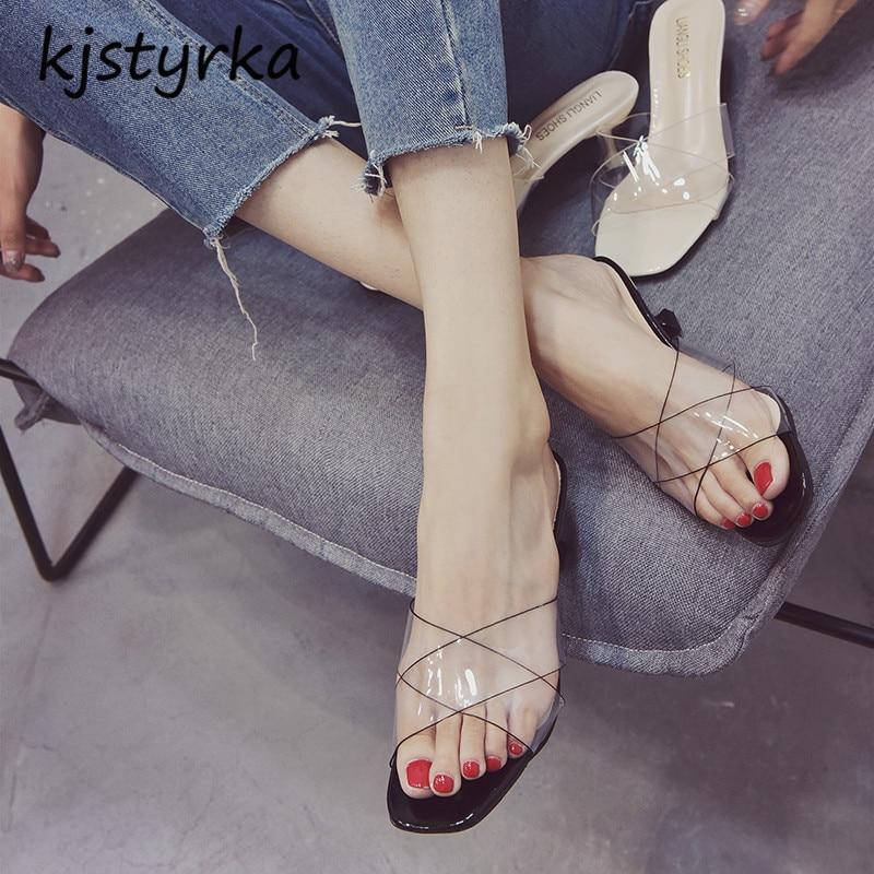 где купить Kjstyrka 2018 Women Shoes Comfortable Sandals Summer Transparent sandals high heels 6cm peep toe fashion Sandalias по лучшей цене