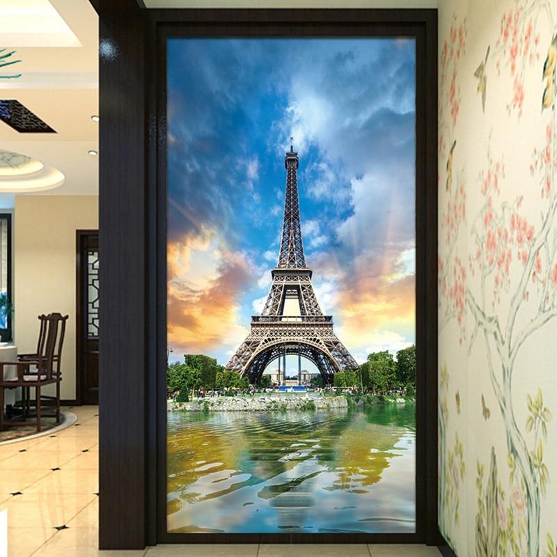 Papel De Parede 3D Paisagem Beautiful Eiffel Tower Entrance Mural Wallpaper Living Room Hotel Backdrop Wall Paintings Home Decor