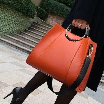 Nueva Casual Simple Bolsos De Mujer de alta calidad bolso de cuero de gran tamaño bolso de hombro mujer de gran capacidad de las señoras de compras bolsa-in Cubos from Maletas y bolsas    1