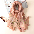 Luna&DolphinFashion bandana Luxury Scarve Women Brand Flower Embroidery Pure Silk Pure Wool  Scarf Women Shawl High Quality