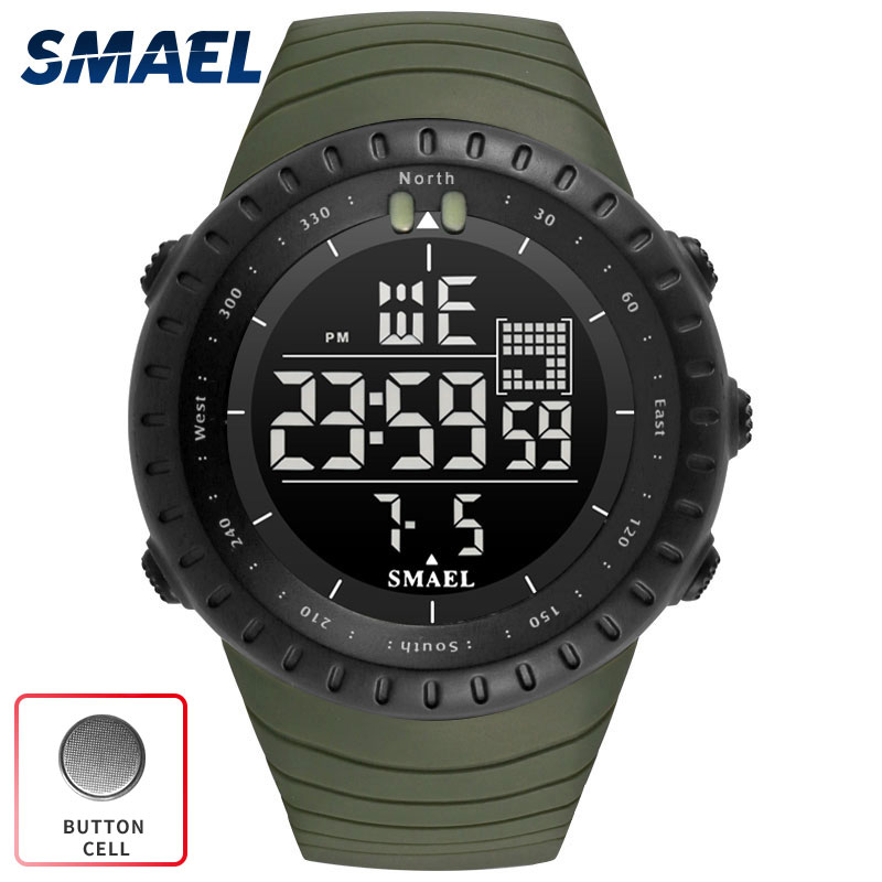 SMAEL 2017 Top luxury brand Digital Watch Men Clock militar army Green Black Big Waterproof LED
