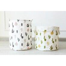 New Big Size Geometric Cactus Pattern Laundry Basket Bedroom Dirty Clothes Toys Storage Bucket Round Folding Baskets
