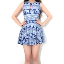 2017 Womens Sexy Crotch Bottom Zipper One Pieces bodysuit Slimming bathing suit Women Skirt swimsuit Elephant printing Deep Blue недорого
