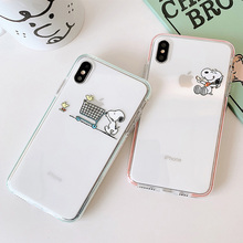 Transparent Ultra Thin cartoon Dog bird Case For iPhone 7 8 Plus Phone Cases Clear iphone 6 s 6s X XR XS max case