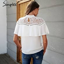 Simplee Sexy white chiffon blouse shirt women Vintage ruffle overlay lace blouse female Black short sleeve summer blusas 2018