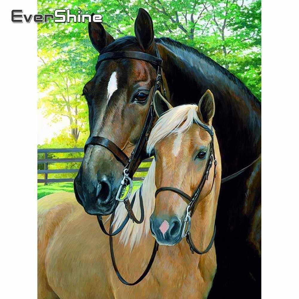 Evershine Diamant Schilderen Kit Paarden Diamant Borduurwerk Vol Display Dieren Strass Foto 'S Diamond Mozaïek Koop Beadwork