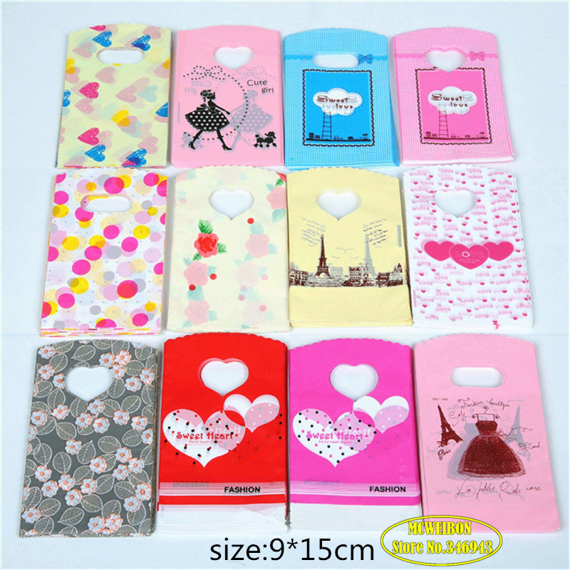 30pcs/Lot Wholesale Plastic Gift Jewelry Packing Bag Shopping Bags Pouches Gift Bags Jewelry Boxes And Packaging Mix Color 9X15