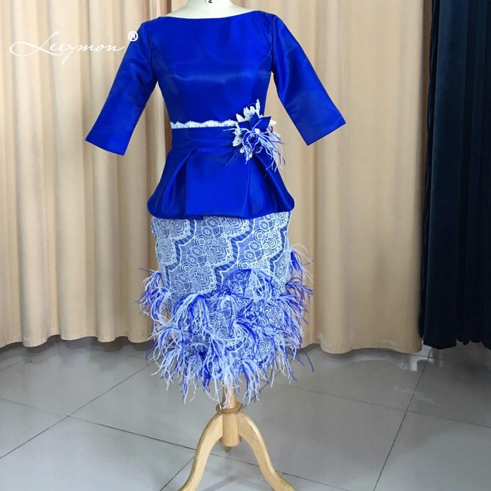 Leeymon Royal Blue Mother of Bride Dresses Feathers Ostrich Mother of Bride Dress Knee Length Vestido de Madrinha M33