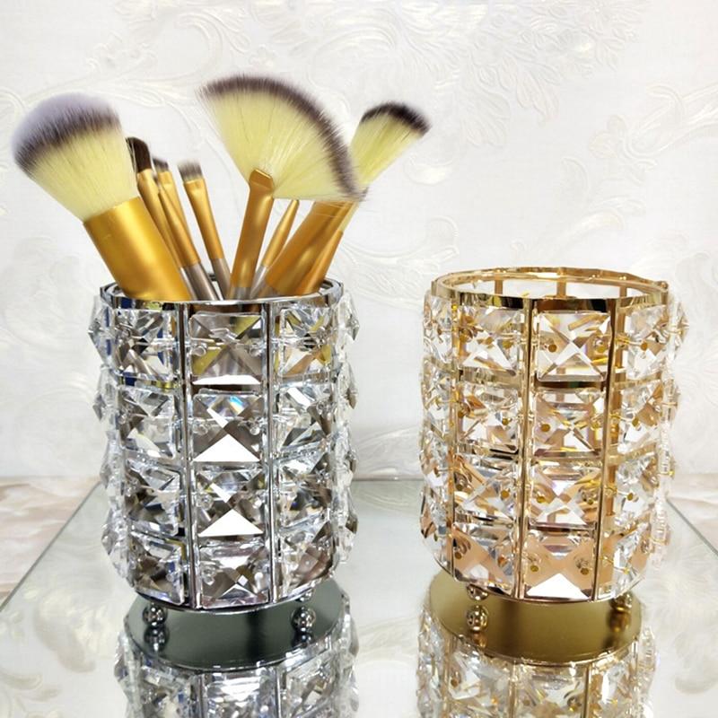 Holder Storage-Box Makeup-Brush-Organizer Cosmetic Desktable-Decor Crystal Office Gold