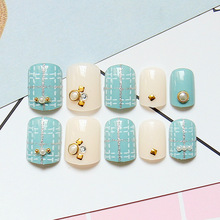 Fake Nails Light Green Natural Glitter Silver Cross Lines False Nail Tips Pearl Nails Decoration Manicure