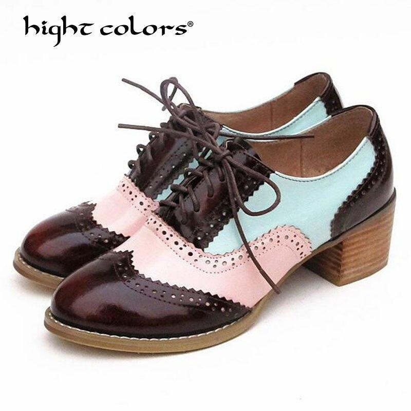 New Arrival Brand 2018 Vintage Womens Stylish Brogue Shoes Lace Up Oxfords Chunky Block Cut Outs Heels Shoes Plus Size 33~42 lace insert plus size shoulder cut blouse