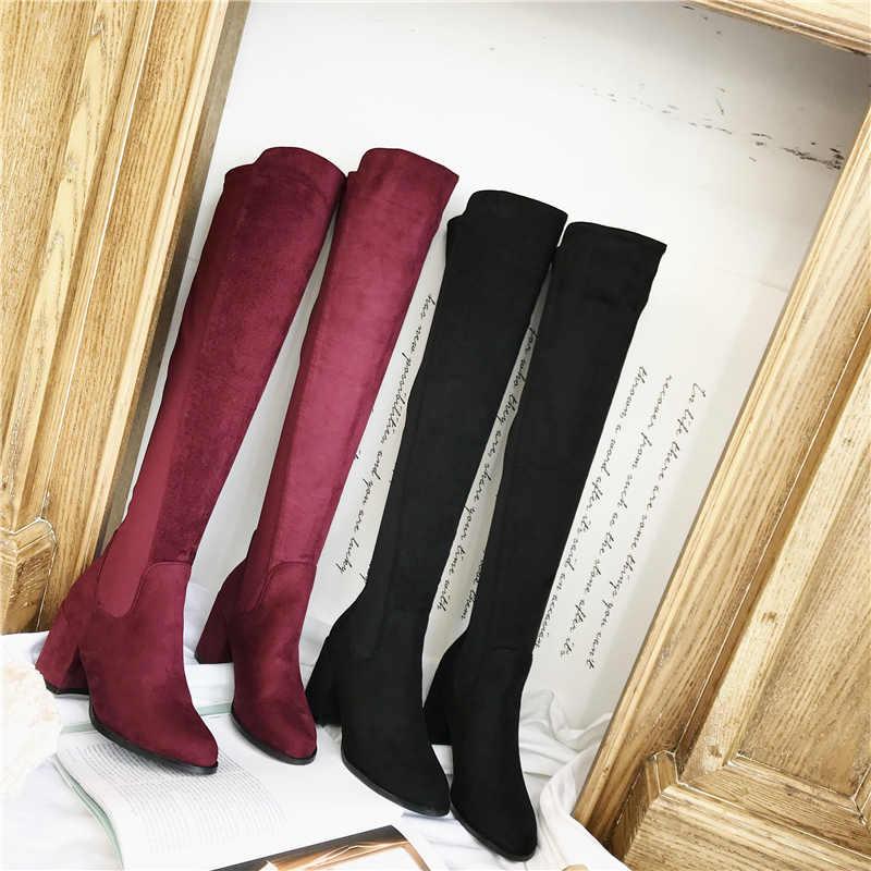 Diz Üzerinde Süet Düşük Kare 7cm Yüksek Topuklu 2019 Kadın Çizmeler Kadın Uzun Bordo Çizmeler Bayan Fushia Sonbahar kış sıcak ayakkabı