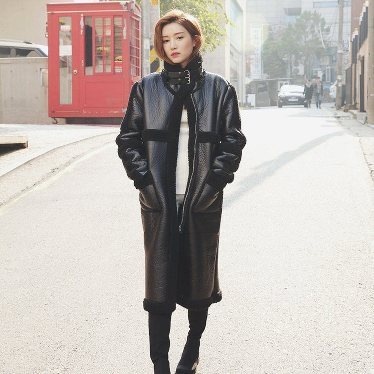 2016 winter berber fleece outerwear plush overcoat long design fur one piece PU wadded jacket thickening female