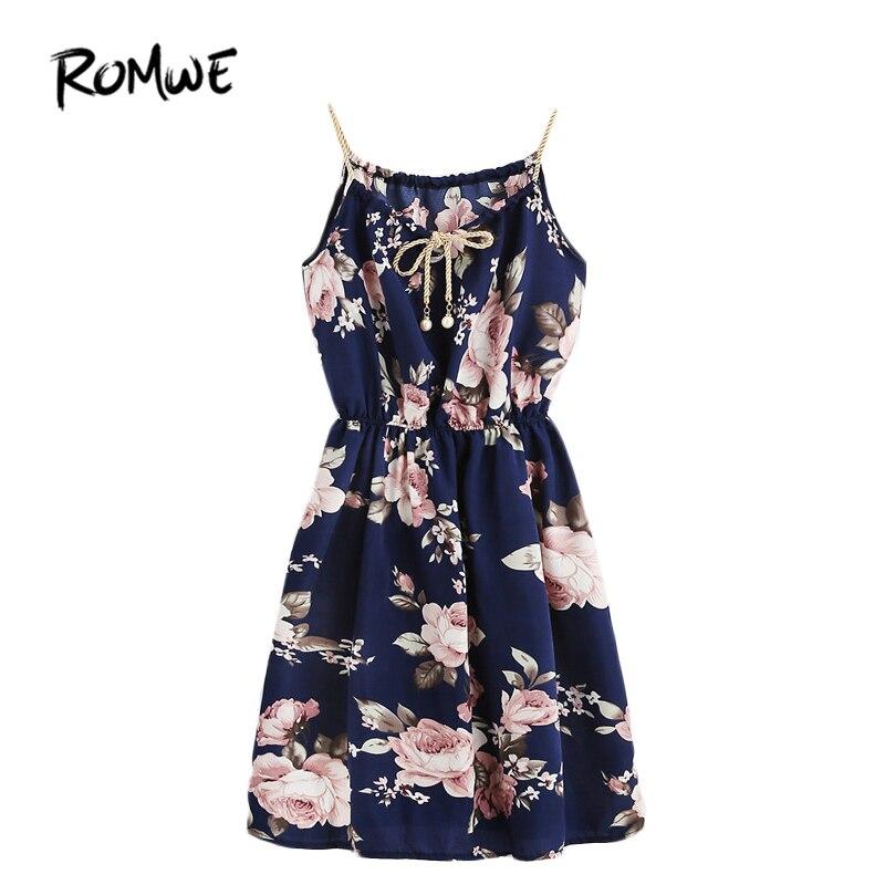 ROMWE Womens Summer Dresses 2017 Summer Spaghetti Strap A Line Dress Braided Bead Strap Tie Front Flower Print Dress