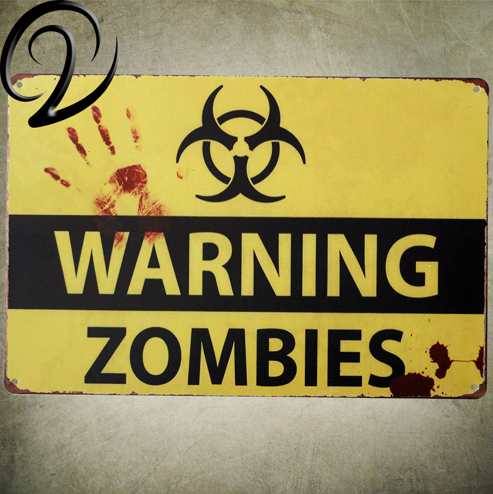Warning Zombies Bar Pub Cafe Home Wall Decoration Tin Plaques Metal ...