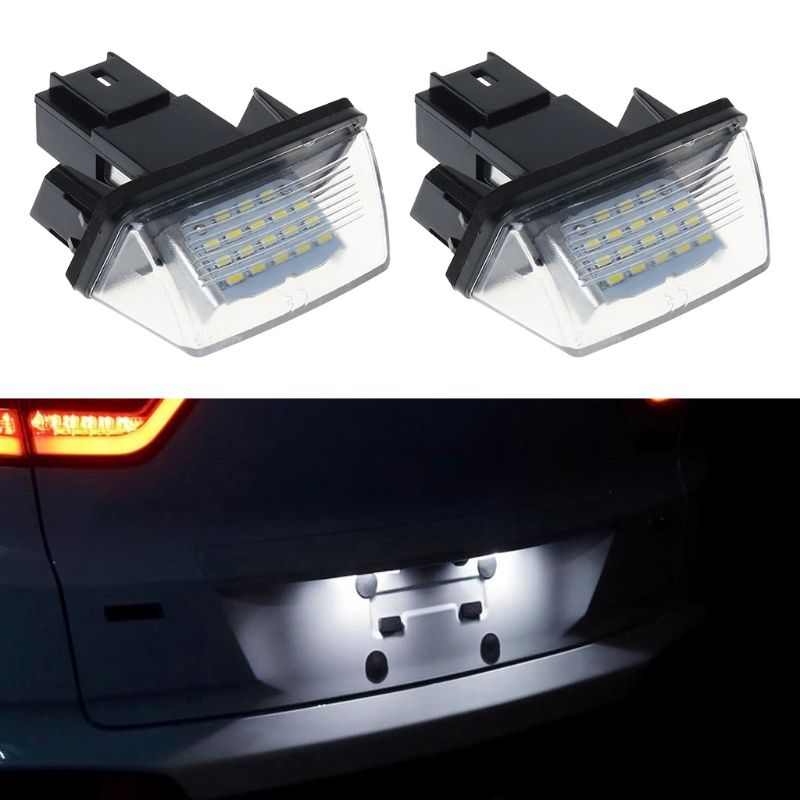 1 Pair 18 LED License Number Plate Lights Lamp For Peugeot 206 207 307 308 406 Citroen C3 C4 C5 C6