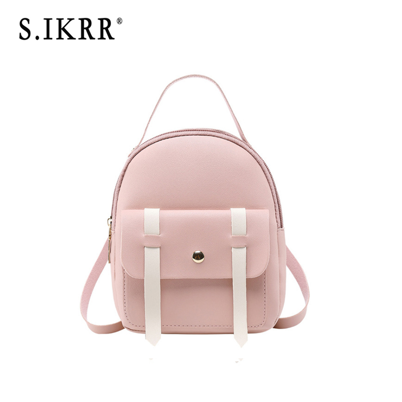 S.IKRR Women Mini Backpack Designer Fashion Leather Panelled Backpack Cute Shoulder Bag For Teenage Girls Travel Small Bags New