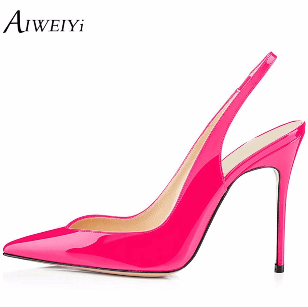 AIWEIYi 2018 Fashion Ladies Shoes Patent Leather Sexy Women Pumps Pointed Toe Slingback Slip On Thin High Heels Shoes Woman дрель dwt sbm 1050 t