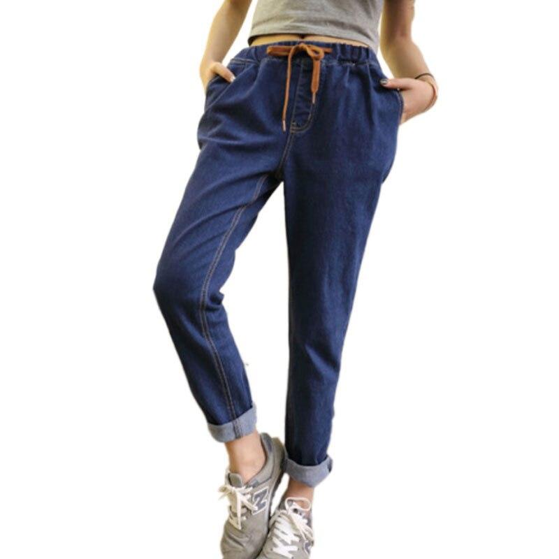 European Blue Bandage Denim Jeans Female Loose Casual Jeans For Women Trouser Woman Denim Pants Plus