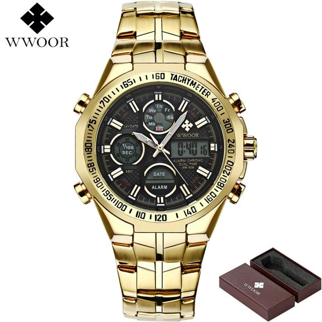 WWOOR Brand Luxury Men Waterproof Sports Watches Men's Quartz LED Analog Clock Male Military Wrist Watch Gold Relogio Masculino