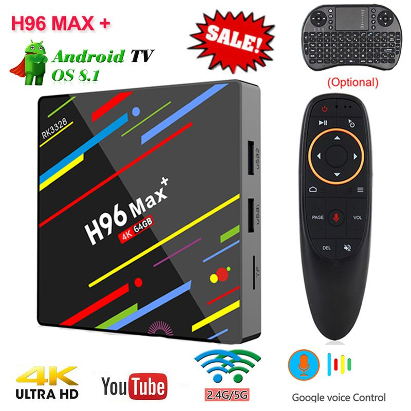 H96 MaX Plus Android 8.1 Smart TV Box commande Vocale 4gb RAM 64gb ROM H.265 RK3328 Quad-core 2.4g5.0 ghz Wifi HD Set Top BOX