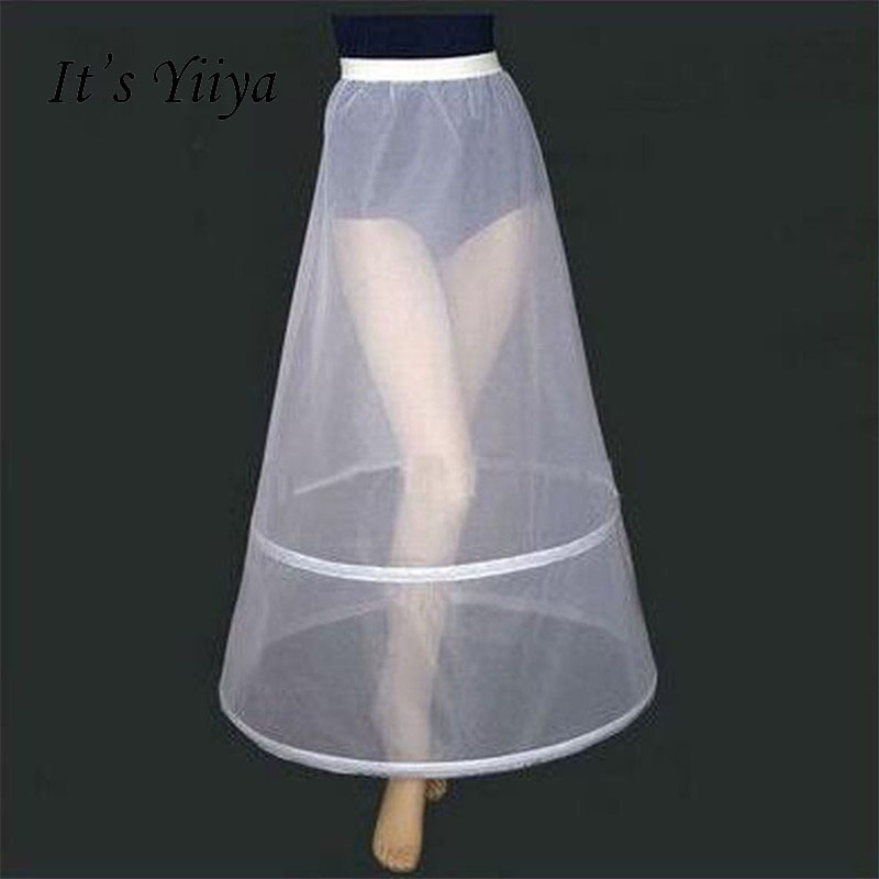 It's Yiiya Women White 2 Hoops A-line Wedding Accessories Bridal Crinolines Vestidos De Novia Underskirt Bustle Petticots PJ025