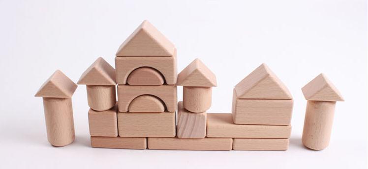22 Pcs Wood Log Blocks Educational Kids Classic Toys Large Pieces