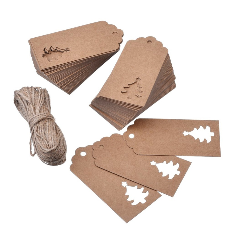 100Pcs Christmas Tree DIY Kraft Paper Tags White Brown Rectangle Label Luggage Wedding Note Blank Price Hang Tag Kraft Gift HOT1