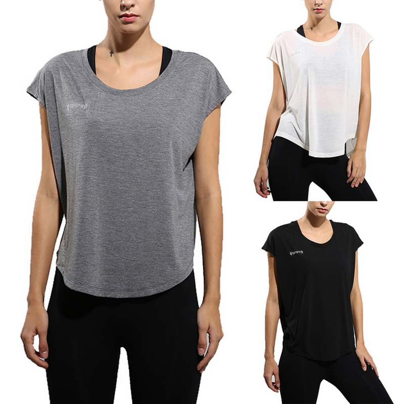 LOOZYKIT Quick Dry T Shirt Women Loose T-shirts Solid Soft Sports Tops Women Yoga Top Women Shorts Sleeve Yoga Shirts Breathable