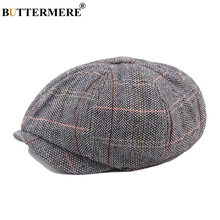 BUTTERMERE Men Newsboy Beret Hats Herringbone Female Vintage Checkered Duckbill Hat Octagon Gifts British Gatsby Style Flat Cap