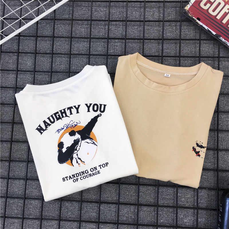2019 Estate T-Shirt di Moda Tamponando Panda Divertente Maglietta Delle Donne Del Cotone Tee Harajuku Stile Coreano Vestiti Casual Streetwear Top
