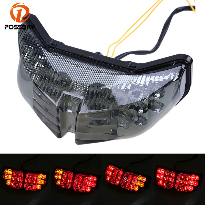 POSSBAY LED Motorcycle Tail Light Rear for Yamaha FZ1 FZ8 2006 2007 2008 2009 2010 2011 2012 Brake Turn Signal Indicator Light mzorange side mirror led turn signal light outside for prius reiz wish mark x crown avalon 2008 2009 2010 2011 2012 right